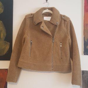 Zara teddy moto style zip jacket